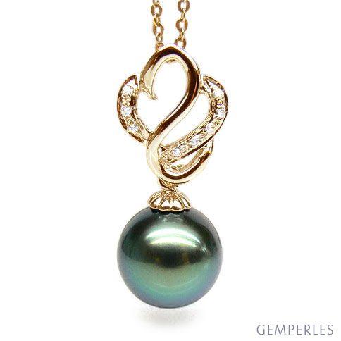 Ciondolo Cigno Méganissi - Oro Giallo, Diamanti e Perla Tahiti