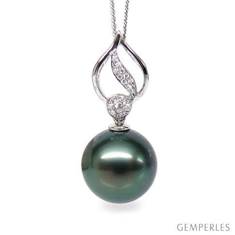 Ciondolo Breakwater - Oro Bianco, Diamanti e Perla di Tahiti