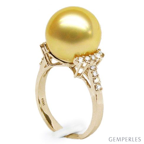 Anello Montebello - Perla dei Mari del Sud Dorata e Oro Giallo
