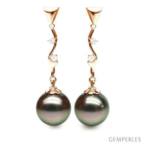 Boucles oreilles perles de Tahiti noires - Style contemporain - Or jaune