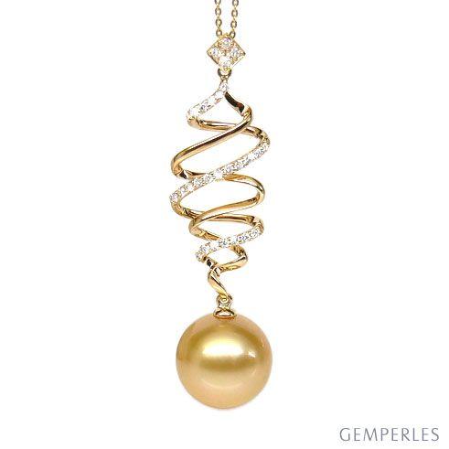 Pendentif tourbillon - Contes d'Aladin - Perle d'Australie dorée