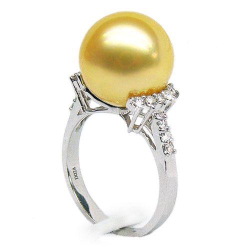 Bague Îles Montebello - Perle d'Australie dorée - Or blanc, diamants