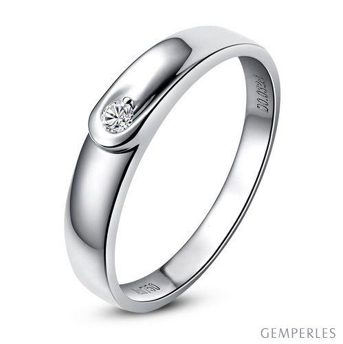 Alliance diamant et or blanc - Anneau Homme