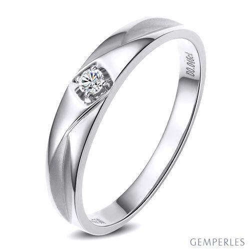Alliance diamant or blanc - Alliance pour Elle