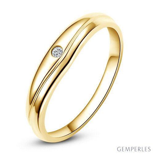 Modèle alliance mariage - Alliance classique Femme - Or jaune, diamant