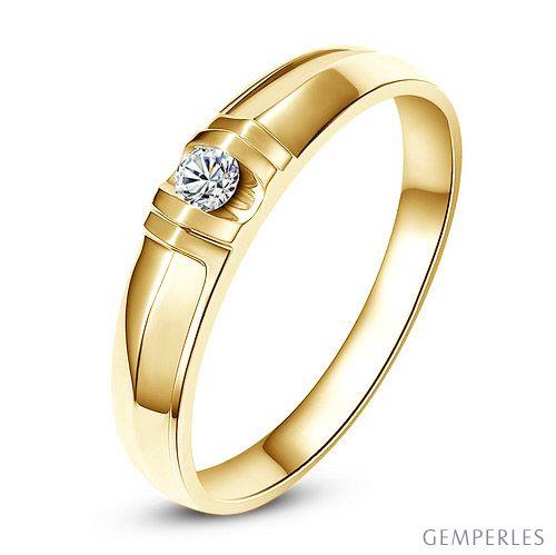 Alliance solitaire sophistiqué - Alliance homme - Or jaune, Diamant   Berlioz