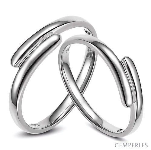 Alliances Couple. Or blanc. Diamants 0.016ct | Angèle & Samson