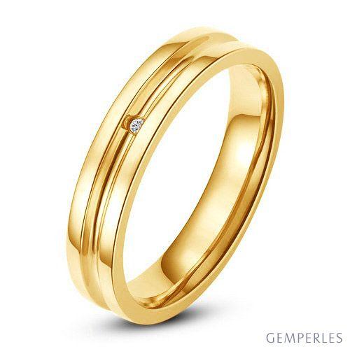 Bague alliance Homme - Anneau diamant or jaune