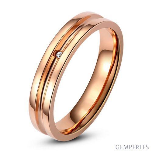Bague alliance Femme - Anneau diamant or rose   Ana