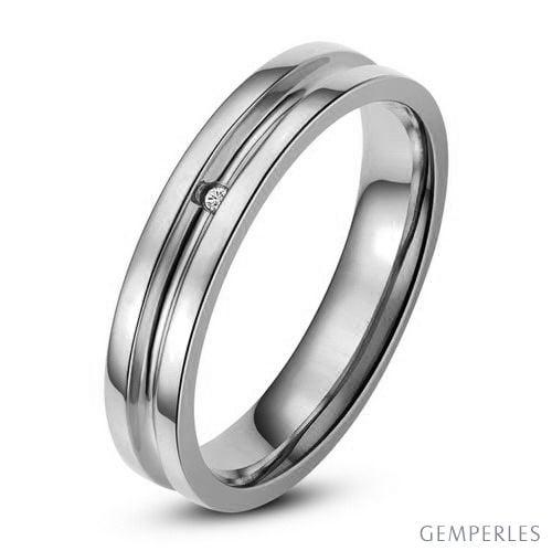 Bague alliance Femme - Anneau diamant or blanc | Lavinia