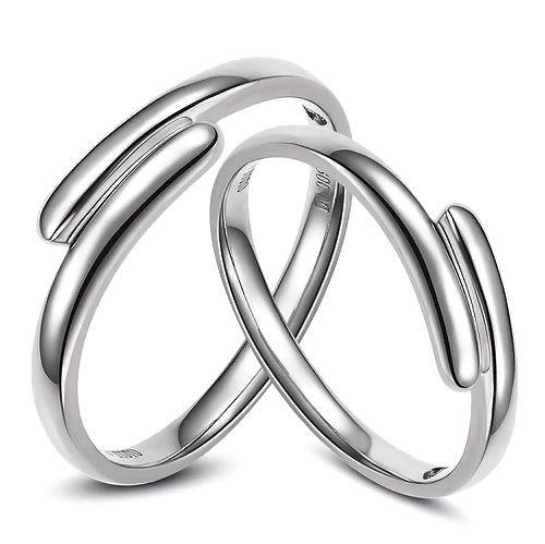 Alliances Couple. Or blanc. Diamants 0.016ct   Angèle & Samson