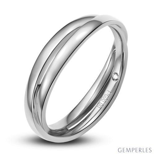 Alliance 2 anneaux platine Homme - Diamant
