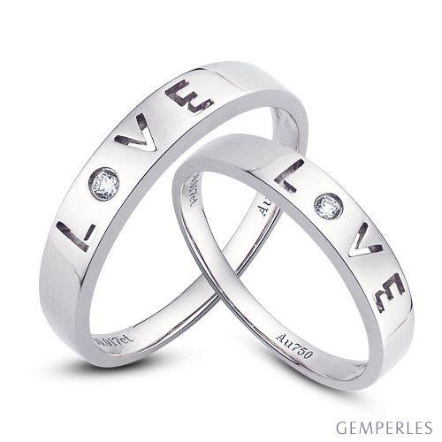 Alliances Love - Alliances Duo platine - Diamants