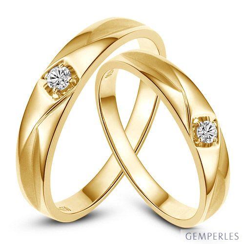 Alliances diamants or jaune - Alliances Duo
