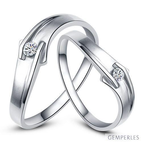 Alliances diamants or blanc - Alliances Couple