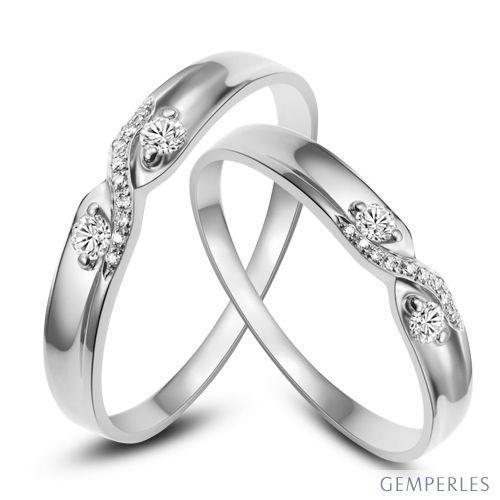 Alliances mariage diamants - En or blanc - Pour homme et femme