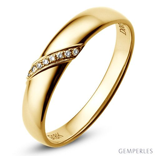 Alliance de Mariage Homme Abélard - Or Jaune & Diamants | Gemperles