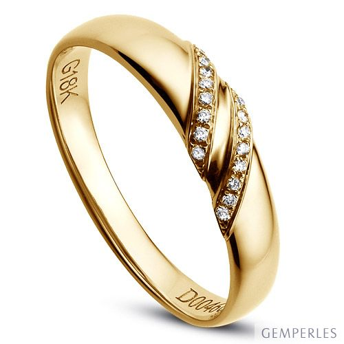 Alliance de Mariage Femme Héloïse - Or Jaune & Diamants | Gemperles