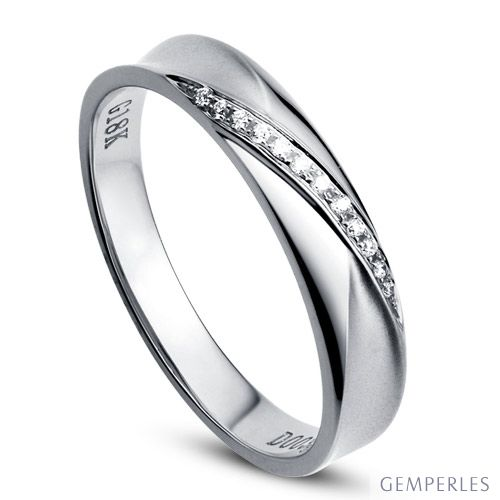Alliance Femme. Or blanc. Diamants 0.029ct