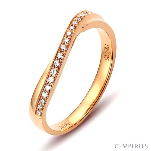 Alliance diamants ondulation précieuse - Alliance pour femme or rose | Hygie
