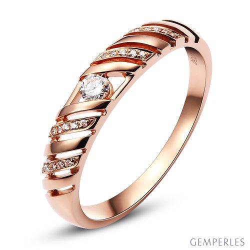 Alliance Femme. Or rose. Diamants 0.089ct | Harlow