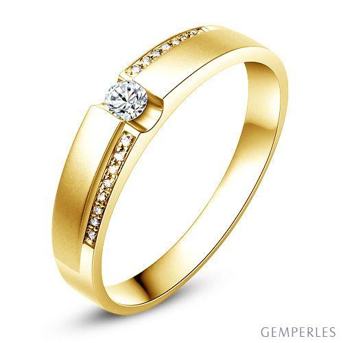 Alliance solitaire or jaune 750/1000 - Bague Femme diamants   Edna