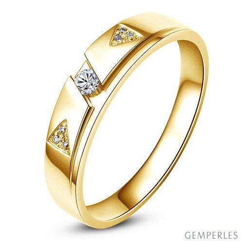 Alliance diamants - Or jaune - Alliance Homme