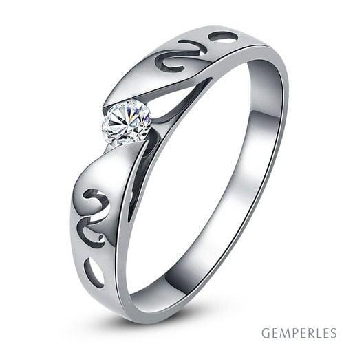 Mon alliance de mariage - Alliance originale platine, diamant - Femme