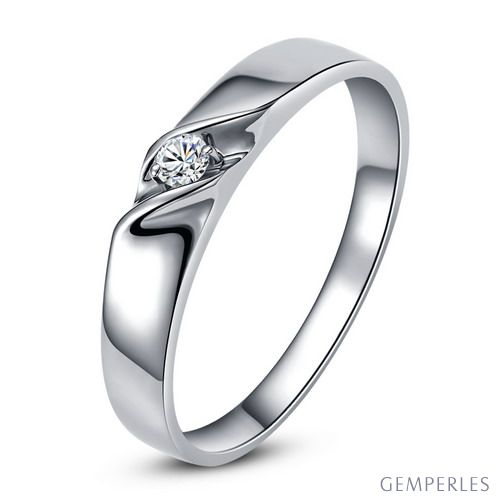 Alliance mariage en or - Alliance Homme - Or blanc 18 carats - Diamant