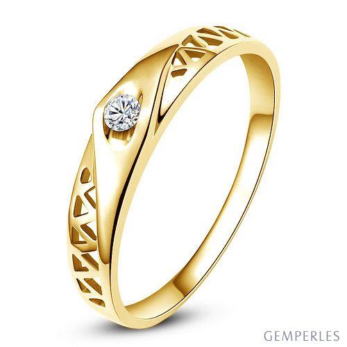 Alliance contemporaine -  Alliance Femme Or jaune - Diamant