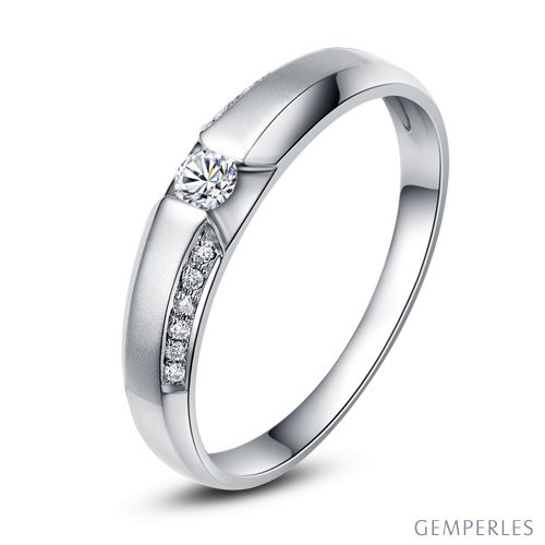 Achat alliance mariage - Alliance Solitaire Homme - Or blanc, diamants | Léon