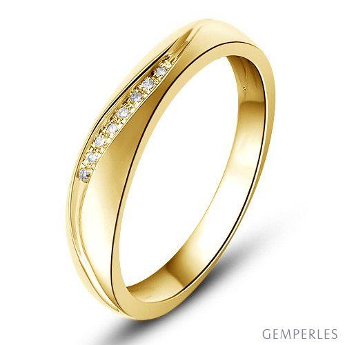 Alliance or mariage - Alliance diamants - Or jaune, Femme