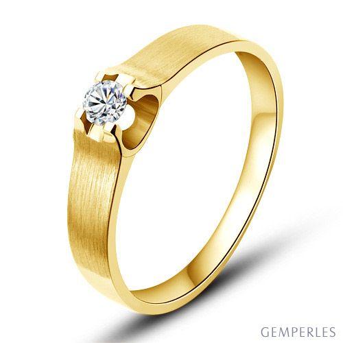 Alliance or jaune et diamant - Alliance solitaire pour Femme