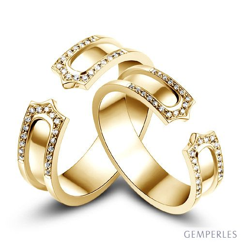 Alliances or jaune originales - Anneaux discontinus Couple - Diamants
