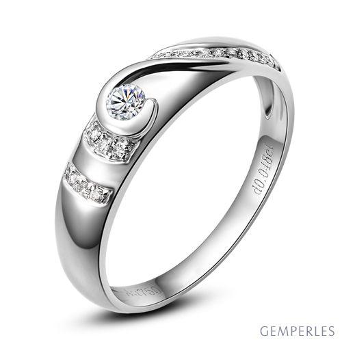 Alliance Femme solitaire diamants - Bague moderne Or blanc 18cts | Éclat glacé