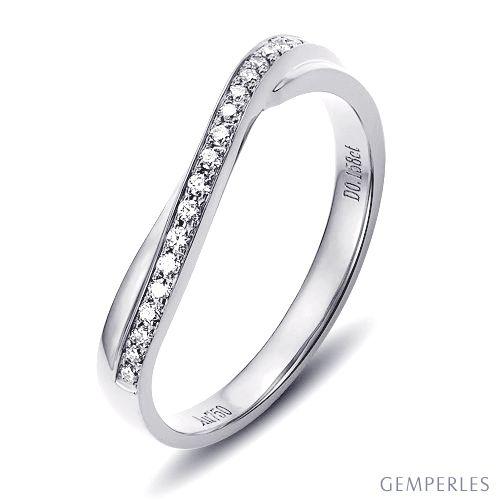 Alliance ondulée or blanc - Alliance femme avec diamants   Métis