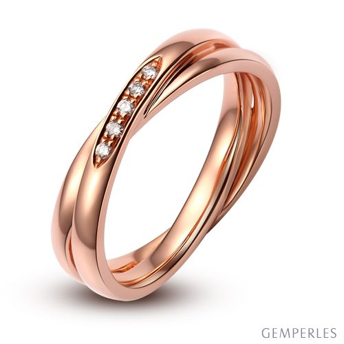 Alliance 2 anneaux or rose Femme - Diamants | Magui
