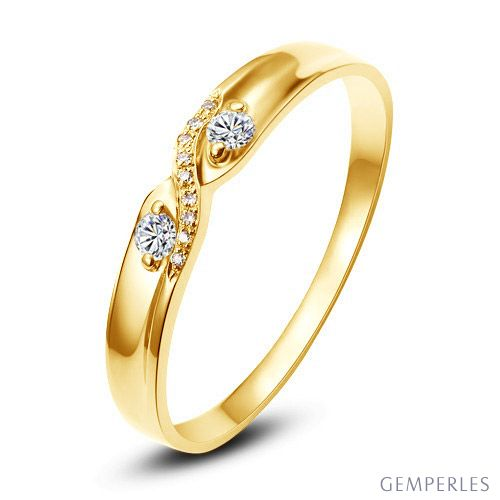 Alliance mariage diamants or jaune. Femme | Hortense