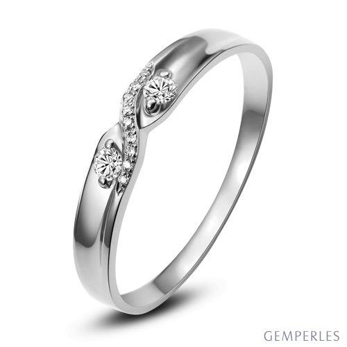 Alliance Monika Platine I Bague de mariage diamant Femme