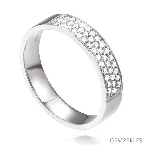 Alliance Or Blanc Jaq - Alliance de Fiançaille en Diamant - Femme   Gemperles