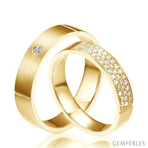 Alliances or jaune Couple - Sertissage diamants