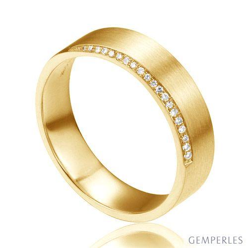 Alliance Brandon - Or Jaune Brossé 18cts pour Homme - Liseré de 19 Diamants | Gemperles