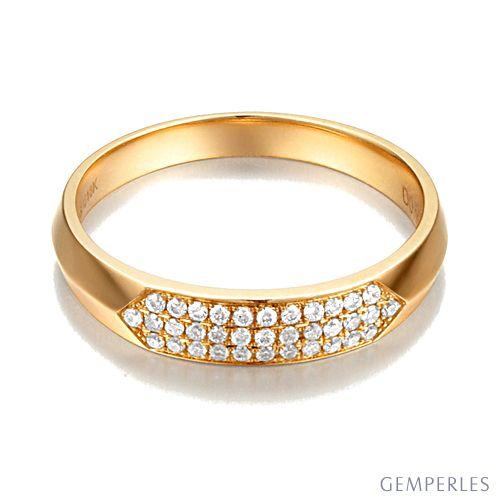 Alliance biseautée pour femme. Or jaune, pavage diamants   Lune Blanche