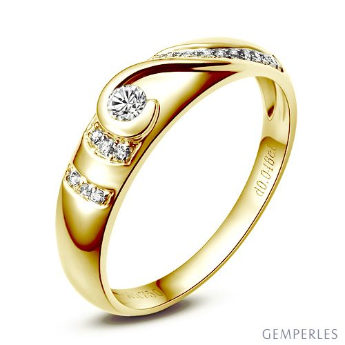 Alliance femme solitaire diamants - Bague moderne Or jaune 18 cts | Solitaire, plus jamais
