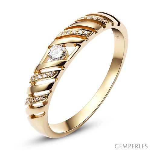 Alliance Femme. Or jaune. Diamants 0.089ct | Pickford