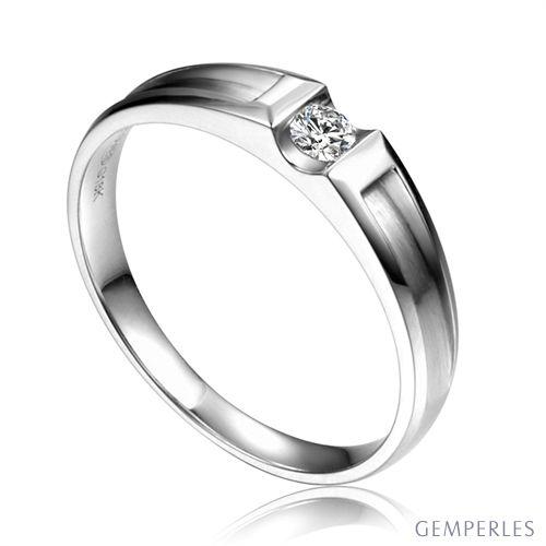 Alliance solitaire diamant -  Alliance Homme or blanc 18cts | Scott