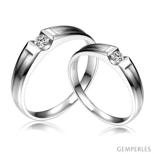 Alliances Couple Liad & Scott - Platine & Diamants