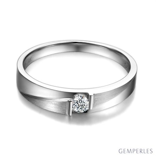 Alliance diamant sertissage demi clos - Métal platine - Femme