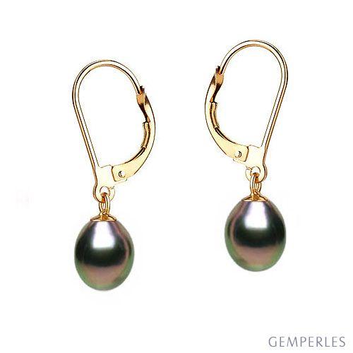 Orecchini Bastet - Perle d'Acqua Dolce Nere 8/9mm AA+ - Monachella Oro Giallo