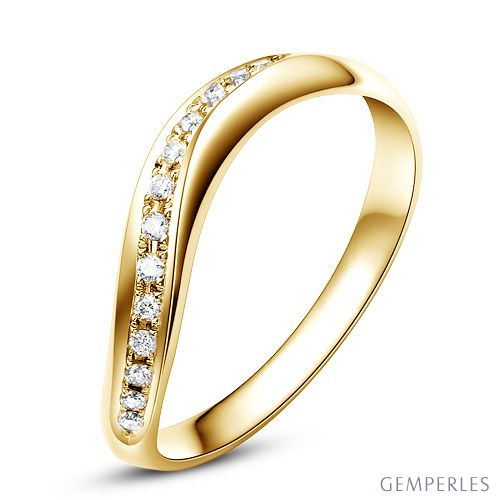 Alliance ondulée or jaune - Alliance femme avec diamants